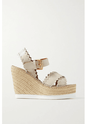 See By Chloé - Glynn Scalloped Leather Espadrille Wedge Sandals - Cream