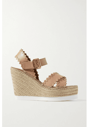 See By Chloé - Glynn Scalloped Leather Espadrille Wedge Sandals - Blush