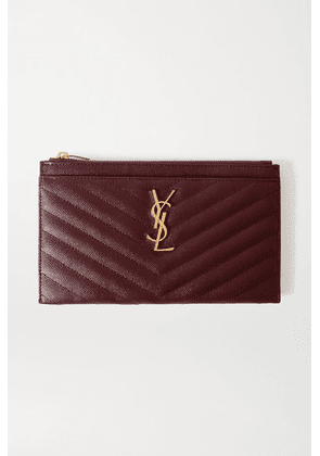 SAINT LAURENT - Monogramme Quilted Textured-leather Pouch - Burgundy