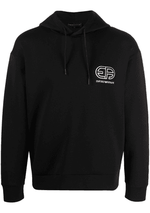 Emporio Armani embroidered logo rib-trimmed hoodie - Black