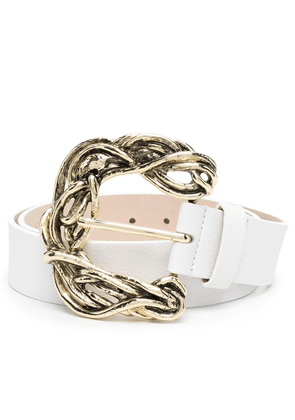 B-Low The Belt engraved-buckle leather belt - White