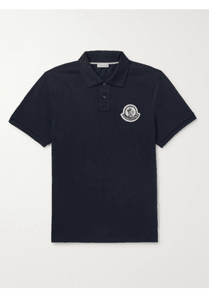 MONCLER - Logo-Appliquéd Cotton-Piqué Polo Shirt - Men - Blue - S