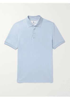 BRUNELLO CUCINELLI - Slim-Fit Contrast-Tipped Cotton-Piqué Polo Shirt - Men - Blue - XS