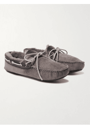 QUODDY - Fireside Leather-Trimmed Shearling-Lined Suede Slippers - Men - Gray - 6
