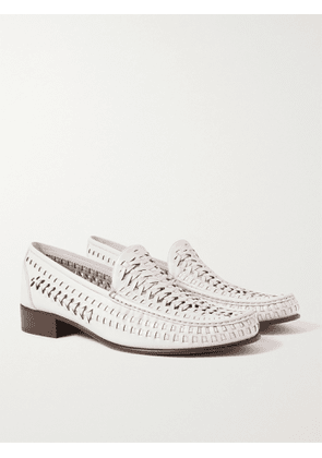 SAINT LAURENT - Swann Woven Leather Loafers - Men - White - EU 43