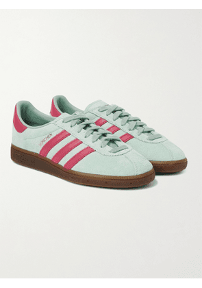 ADIDAS ORIGINALS - MÜNCHEN Leather-Trimmed Brushed-Suede Sneakers - Men - Green - 7.5