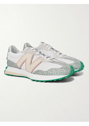 NEW BALANCE - Casablanca 327 Suede-Trimmed Logo-Jacquard and Leather Sneakers - Men - White - UK 8