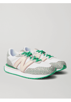 NEW BALANCE - Casablanca 237 Suede-Trimmed Logo-Jacquard and Leather Sneakers - Men - White - UK 10.5