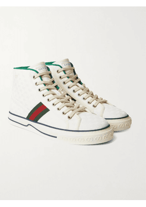 GUCCI - Tennis 1977 Webbing-Trimmed Monogrammed Canvas High-Top Sneakers - Men - White - UK 7