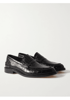 VINNY'S - Romeo Croc-Effect Leather Penny Loafers - Men - Black - EU 40
