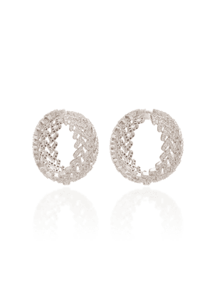 FALLON - Women's Laurel Pave Crystal Rhodium-Plated Hoop Earrings - Silver - Moda Operandi
