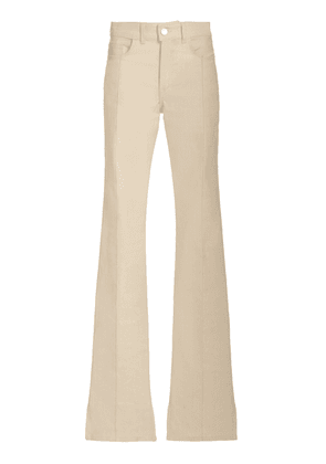 Brandon Maxwell - Women's Stretch High-Rise Flared-Leg Jeans - White/dark Wash - Moda Operandi