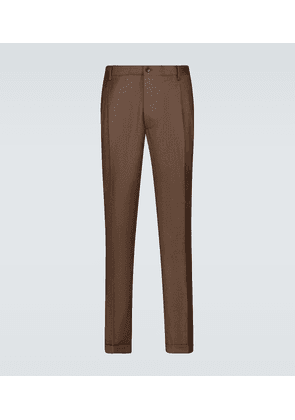 Slim-fit double-pleated pants