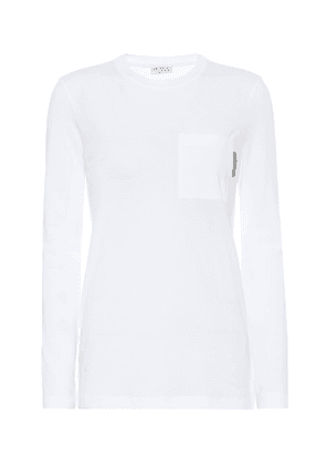Embellished stretch-cotton top