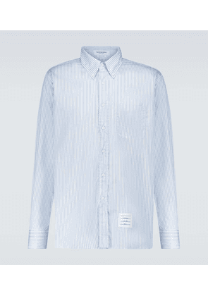 Striped long-sleeved poplin shirt