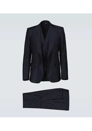 Wool camouflage jacquard suit