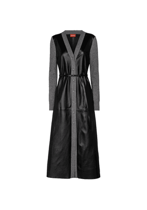 Allyson virgin wool and leather midi dress