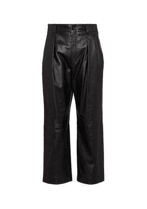 High-rise straight leather pants