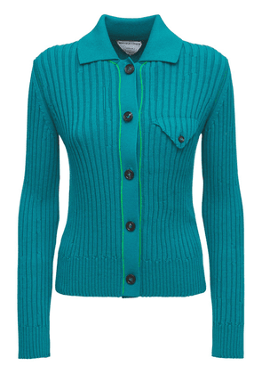 Wool Rib Knit Button-up Cardigan