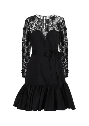 Lace-trimmed silk taffeta minidress