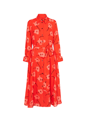 Floral silk midi shirt dress
