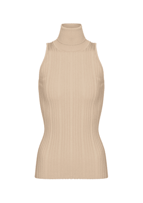 Ribbed-knit sleeveless cotton top