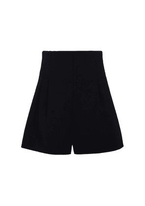 High-rise stretch-wool shorts