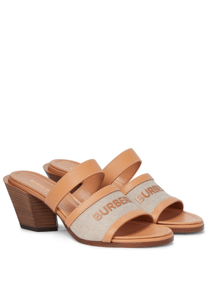 Logo leather-trimmed sandals