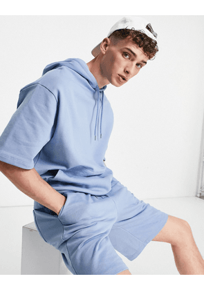 ASOS DESIGN oversized tracksuit with short sleeve hoodie and oversized shorts in washed blue