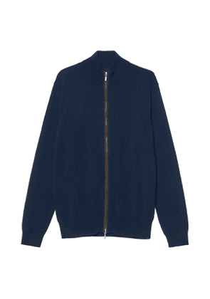 Navy Cashmere Zip Up Knitted Jumper