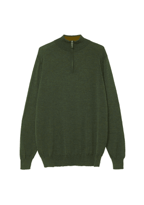 Green Cashmere and Silk Blend 1/4 Zip Sweater