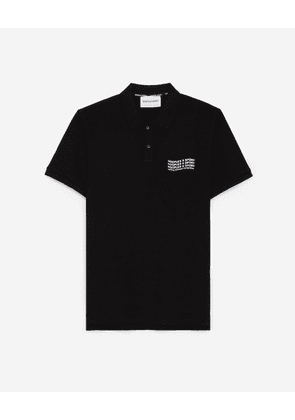 The Kooples - Black cotton polo with lettering on back - MEN