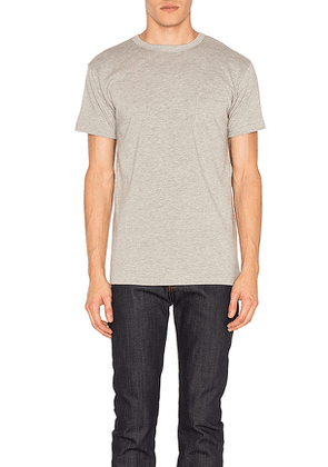 3sixteen Heavyweight Pocket Tee 2 Pack in Gray. Size S.