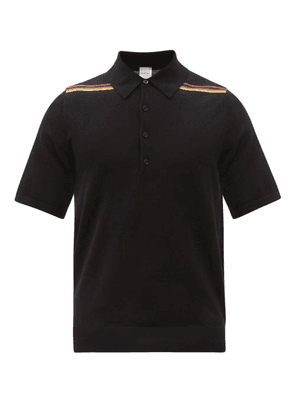 Paul Smith - Signature-stripe Wool Polo Shirt - Mens - Black