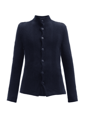 Giorgio Armani - Wave-knitted Buttoned Cardigan - Mens - Navy