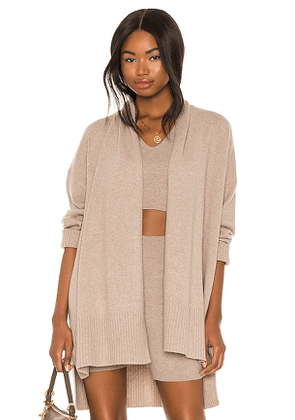 FRAME Cashmere Draped Cardigan in Taupe. Size S.