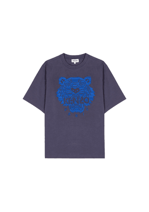 Kenzo Navy Tiger-embroidered Cotton T-shirt