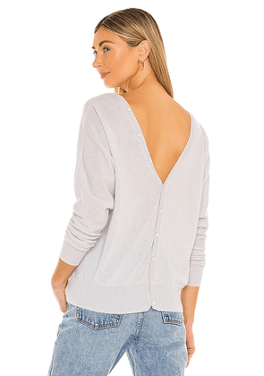 Autumn Cashmere Button Back Dolman Sweater in Light Grey. Size S, M, L.