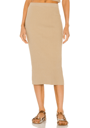 Enza Costa Rib Sweater Knit Pencil Skirt in Taupe. Size S, M, L.