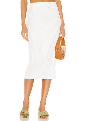 Enza Costa Rib Sweater Knit Pencil Skirt in White. Size S, M, L.
