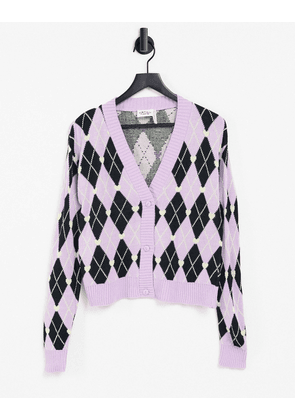 Vintage Supply cropped cardigan in purple argyle