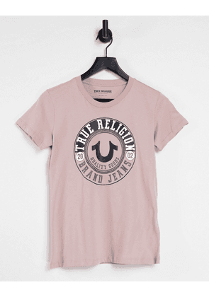 True Religion circle horse shoe crystal graphic crew neck tee in old pink