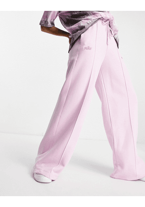 Nike high waist wide leg fleece joggers in arctic pink-Purple