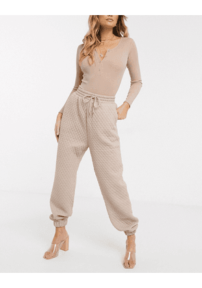 ASOS DESIGN quilted jogger-Neutral