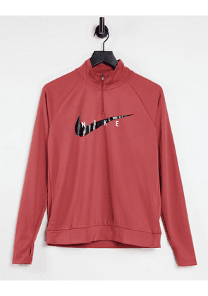 Nike Running swoosh midlayer top in rust-Red