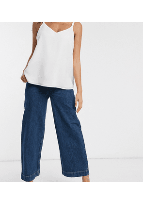 ASOS DESIGN Maternity high rise 'easy' wide leg jeans in mid wash blue with over the bump waistband