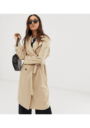 Stradivarius trench coat with tortoise effect buttons in beige-Neutral