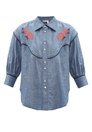 See By Chloé - Floral-embroidered Cotton-chambray Shirt - Womens - Denim