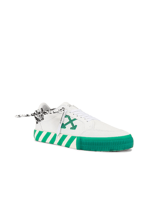 OFF-WHITE Low Vulcanized Canvas Sneaker in Green,White. Size 45.