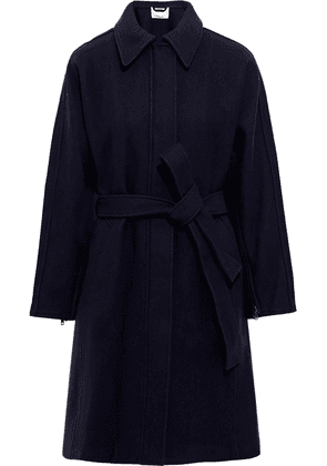 3.1 Phillip Lim Belted Wool-blend Twill Coat Woman Midnight blue Size 10